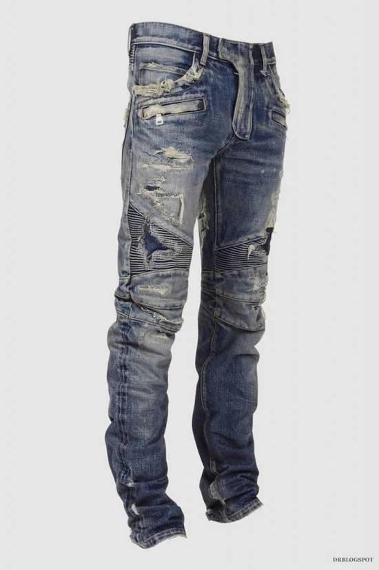 Balmain Destroyed Biker Jeans Size US 27