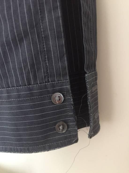 Balmain 11' SS Decarnin Era Grey Strip Distressed Shirt Size US M / EU 48-50 / 2 - 11
