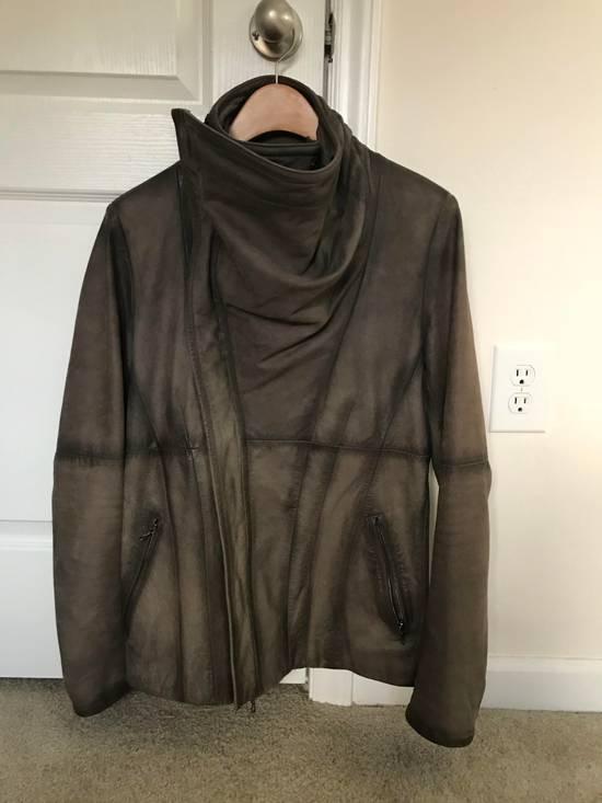 Julius Greige Nubuck Asymmetric Cowl Neck Leather Jacket Size US S / EU 44-46 / 1