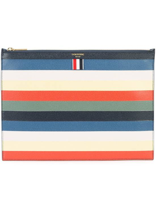Thom Browne Multicoloured leather striped zip pouch Size ONE SIZE - 2