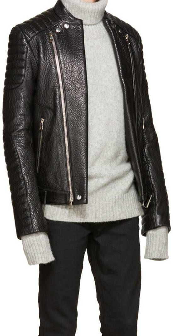 Balmain Balmain Black Leather Collared Biker Jacket Size US M / EU 48-50 / 2 - 3