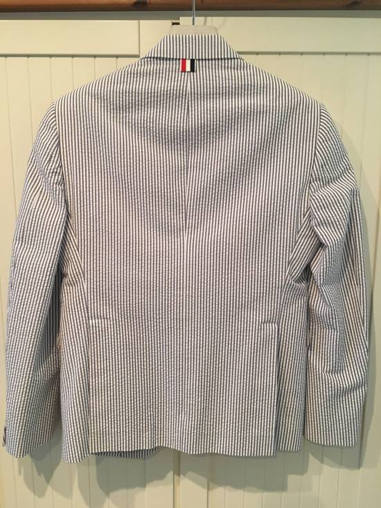 Thom Browne Men's High Armhole Jacket in Navy/White Seersucker Size US S / EU 44-46 / 1 - 10