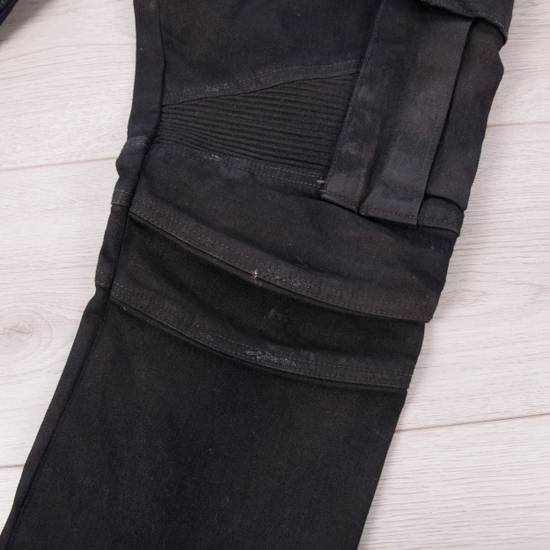 Balmain 1495$ Waxed Cargo Biker Jeans In Black Denim Size US 32 / EU 48 - 10