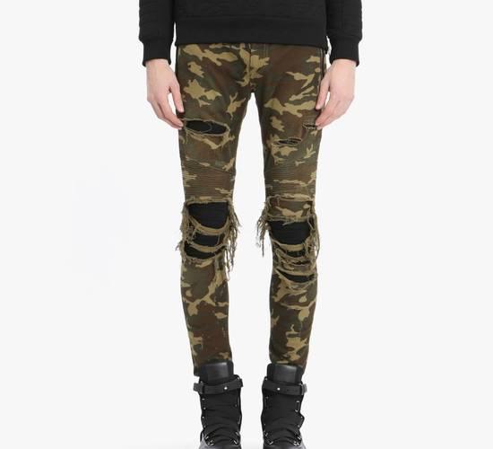 Balmain Size 36 - Heavily Distressed Camo Biker Jeans - FW17 - RARE Size US 36 / EU 52 - 10