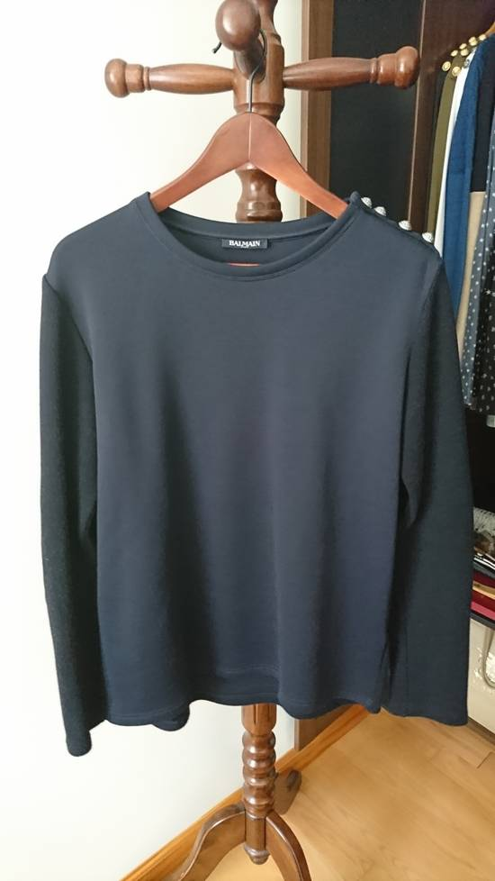 Balmain Navy sweater with elbow biker patches with silver shoulder buttons Size US M / EU 48-50 / 2