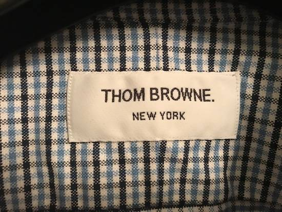 Thom Browne Blue Gingham Shirt with Grosgrain Arm Bands NEW Size US L / EU 52-54 / 3 - 8