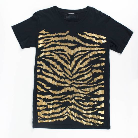 Balmain Black & Gold Cotton Short Sleeve Crewneck T-Shirt Size L Size US L / EU 52-54 / 3
