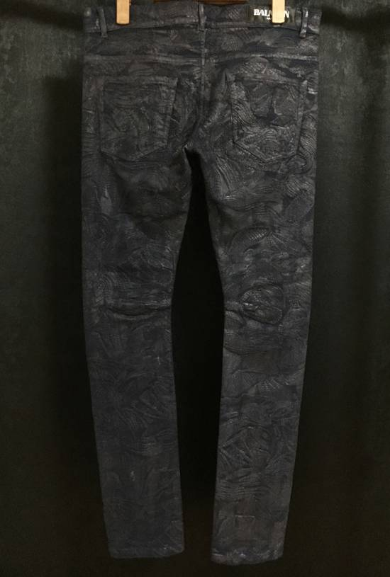 Balmain Midnight Blue Waxed Embroidered Jeans Size US 27 - 4