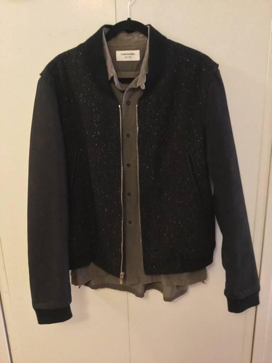 Thom Browne Calf Leather sleeve Wool bomber Size US L / EU 52-54 / 3 - 6