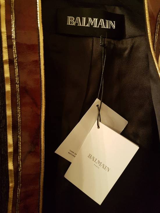 Balmain Embroidered Gold Leather Jacket Size US XS / EU 42 / 0 - 2