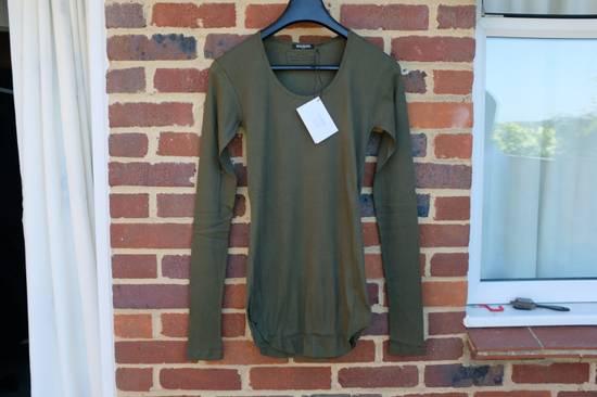 Balmain Khaki Ribbed Knit Long Sleeve T-shirt Size US S / EU 44-46 / 1