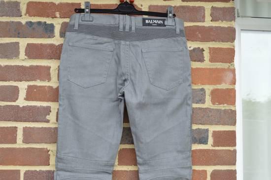 Balmain Grey Distressed Biker Jeans Size US 27 - 3