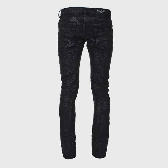 Balmain Midnight Blue Waxed Embroidered Jeans Size US 27 - 15
