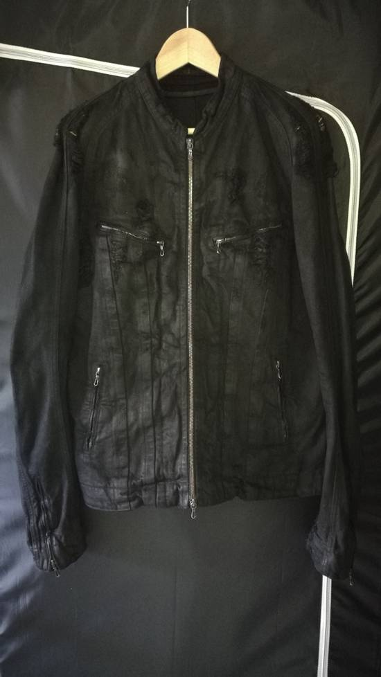 Julius 2009AW Coated Distress Denim Biker Jacket Size US L / EU 52-54 / 3