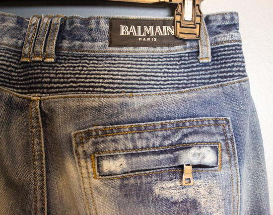 Balmain SLIM-FIT COTTON DENIM BIKER JEANS Size US 35 - 3