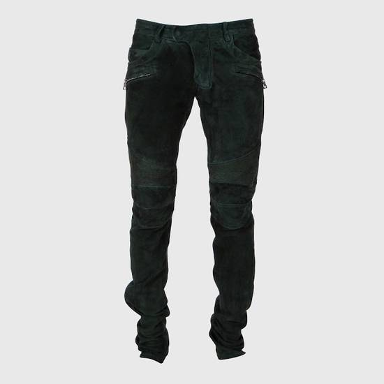 Balmain Balmain FW 2012 Green Suede lambskin Pants Size US 29 - 3