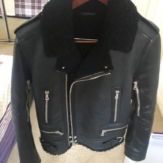Balmain Black Leather & Shearling Biker Jacket Size US S / EU 44-46 / 1 - 2