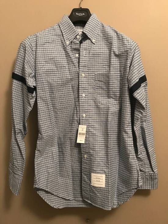 Thom Browne Blue Gingham Shirt with Grosgrain Arm Bands NEW Size US L / EU 52-54 / 3 - 5