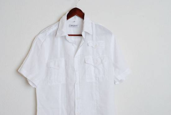Balmain Balmain Paris White Short Sleeve military Linen Cotton Casual Shirt M Man #168 Size US M / EU 48-50 / 2 - 1