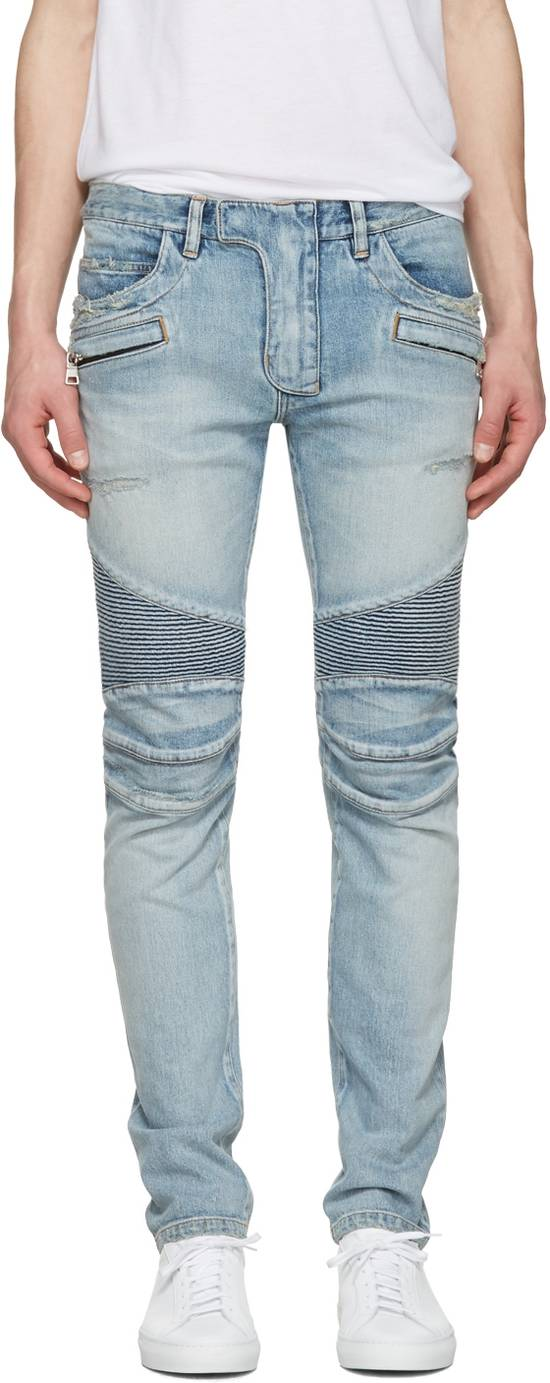 Balmain 1565$ Skinny Light Blue Distressed Biker Jeans Size US 30 / EU 46 - 11
