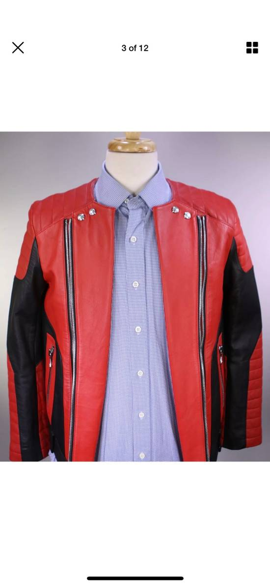 Balmain H&M x Balmain Red Leather Biker Jacket Size US S / EU 44-46 / 1 - 2