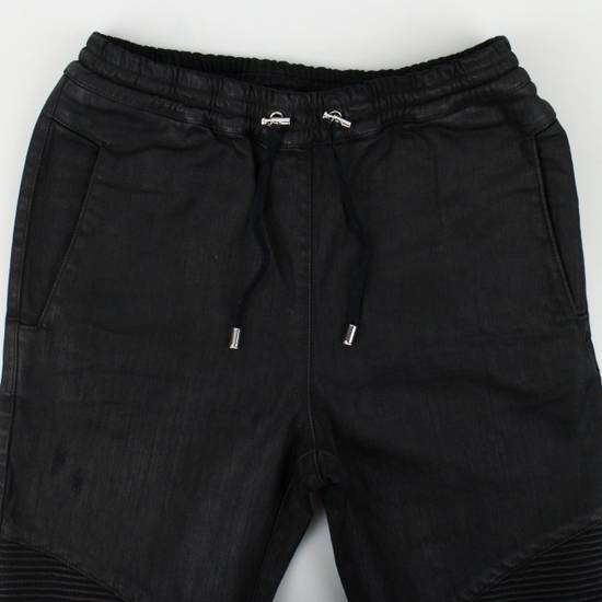 Balmain Black Cotton Blend Waxed Distressed Casual Pants Size Small Size US 32 / EU 48 - 2