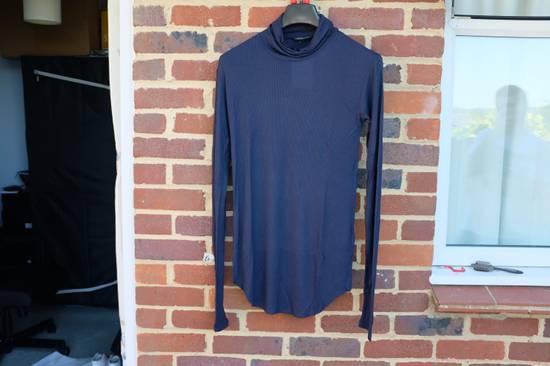 Balmain Blue Ribbed Knit Roll Neck T-shirt Size US M / EU 48-50 / 2