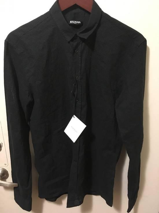 Balmain SS15 Perforated Dress Shirt Size US M / EU 48-50 / 2