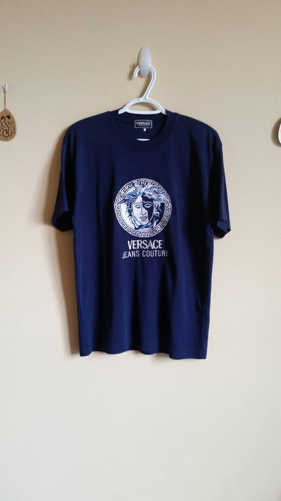 Versace Jeans Couture Medusa Head Greek Key Medallion Embroidered Tee Shirt Size US XL / EU 56 / 4 - 16
