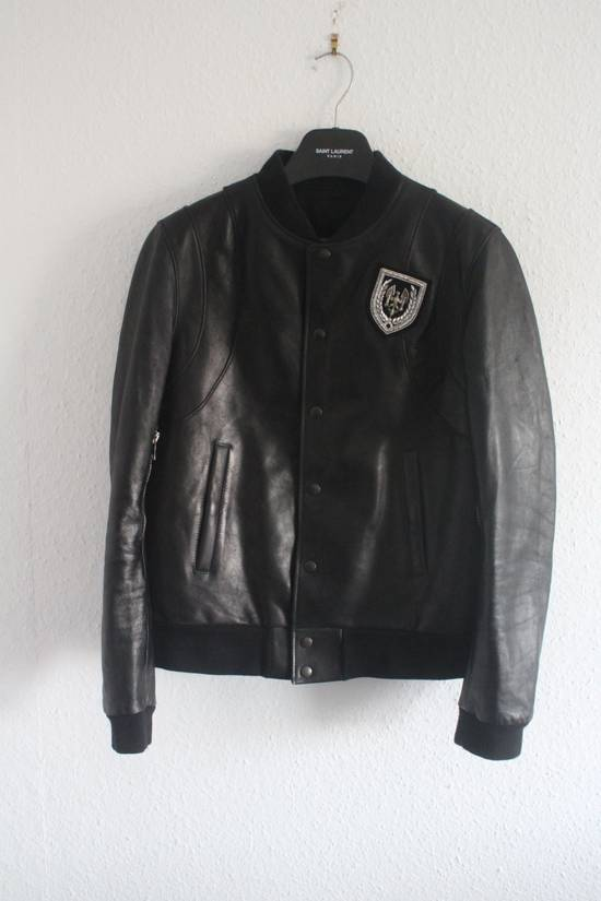 Balmain SS11 Decarnin Teddy Varsity Black Leather Jacket Kanye West 1of1 Size US L / EU 52-54 / 3 - 1