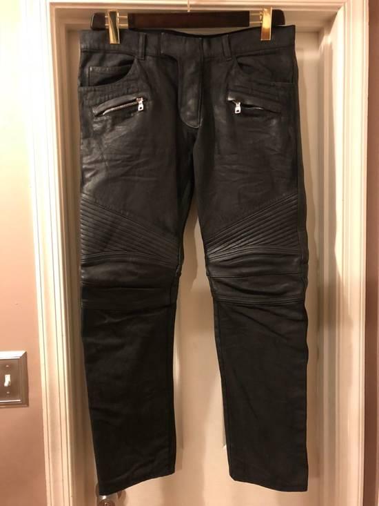 Balmain Black Coated & Leather Biker Jeans Size US 34 / EU 50