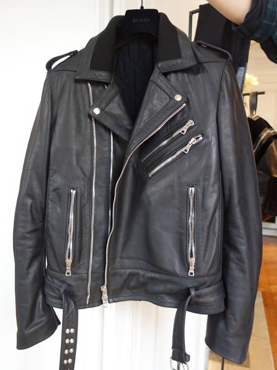 Balmain AW15 black leather biker jacket Size US L / EU 52-54 / 3