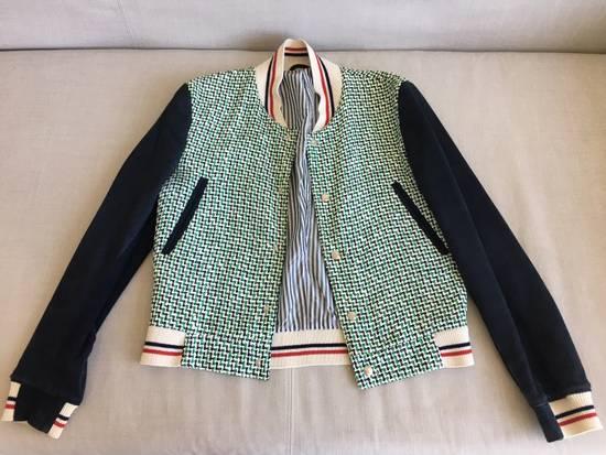 Thom Browne Thom Browne Green/Navy/White One by One Rubber Tweed Varsity Jacket w/ Navy Suede Sleeves Size US XS / EU 42 / 0