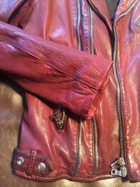 Balmain Lambskin Burgundy Biker Jacket Size US L / EU 52-54 / 3 - 4