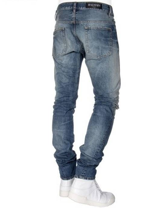 Balmain Knee Rip Blue Faded Twist Jeans(Made in Japan/15.5cm) Very Rare! Size US 29 - 8
