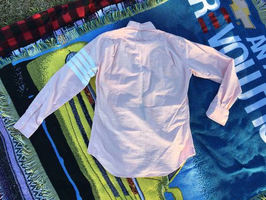 Thom Browne THOM BROWNE PINK OXFORD STRIPE SLEEVE FOUR WHITE BAR LONG SLEEVE SALMON PINK SIZE 2 Size US M / EU 48-50 / 2 - 1