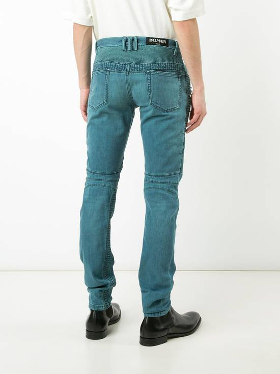 Balmain Turquoise Double Zip Biker Jeans Size US 34 / EU 50 - 3