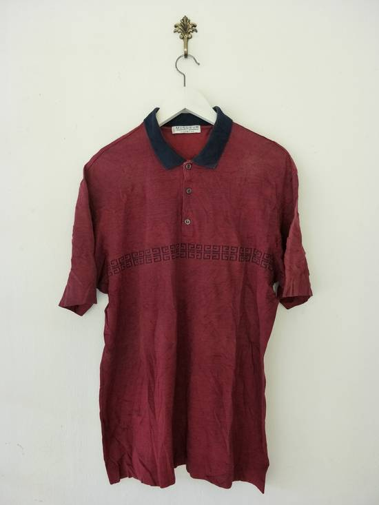 Givenchy Authentic Vintage Classic / Monsieur By Givenchy / Red Velvet Polo Shirt / Good Condition / Made In Italy / Large Size Size US L / EU 52-54 / 3