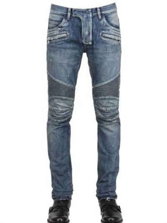 Balmain Balmain Painted Denim Blue Biker Authentic $1490 Jeans Size 27 Size US 27