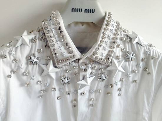 Givenchy GIVENCHY 2012 F/W STAR STUDS & CRYSTAL BEADS WHITE SHIRT Size US M / EU 48-50 / 2 - 4