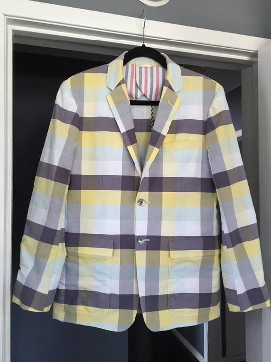 Thom Browne Thom Browne Spring 2011 Size 0 Jacket Yellow Gray Light Blue Plaid Blazer Size 36R