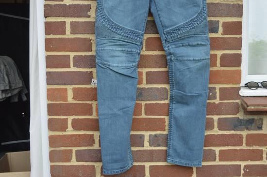 Balmain Turquoise Double Zip Biker Jeans Size US 34 / EU 50 - 5