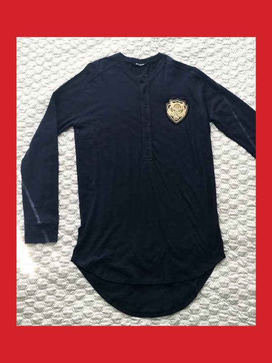 Balmain Cotton and Silk Henley T-Shirt with Embroidery Size US S / EU 44-46 / 1 - 1