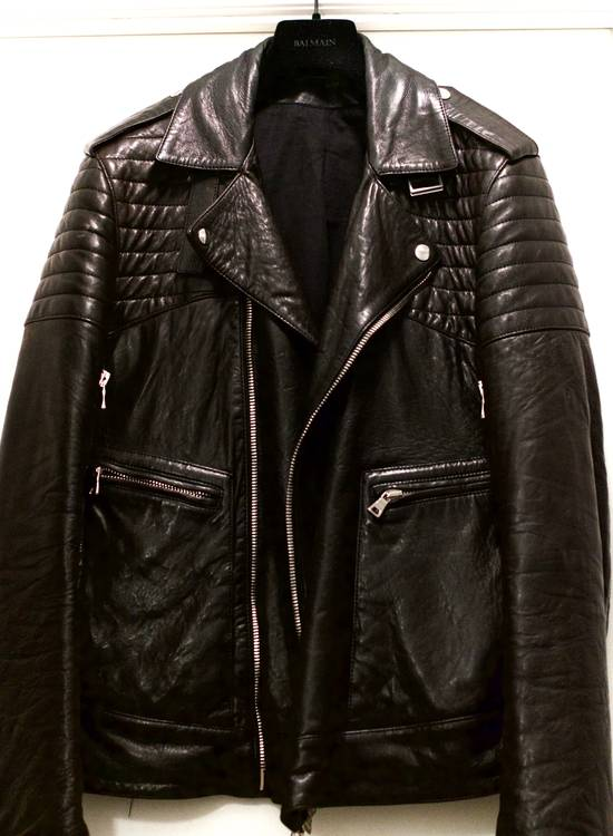 Balmain RARE! Lambskin Leather Biker Jacket Size US L / EU 52-54 / 3