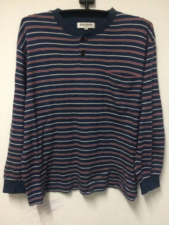 Balmain Stripe L/Sleeve Balmain Pocket T's Large Made in Japan. Size US L / EU 52-54 / 3