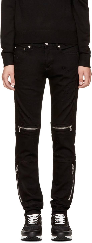 Givenchy Distressed Denim Biker Skinny Jeans, Black Size US 34 / EU 50