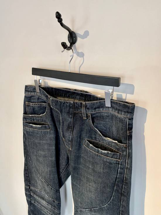 Balmain Balmain Washed Indigo Blue Biker Jeans Size US 32 / EU 48 - 1