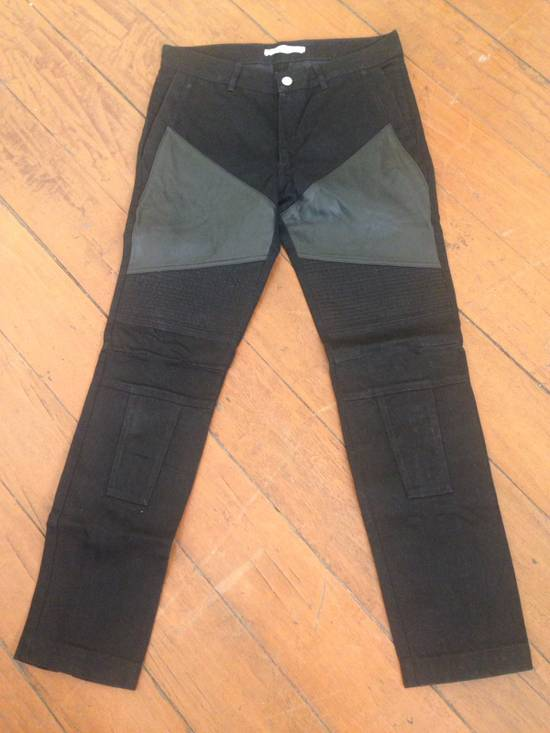 Givenchy Black Leather-patched Biker Jeans Size US 31 - 1