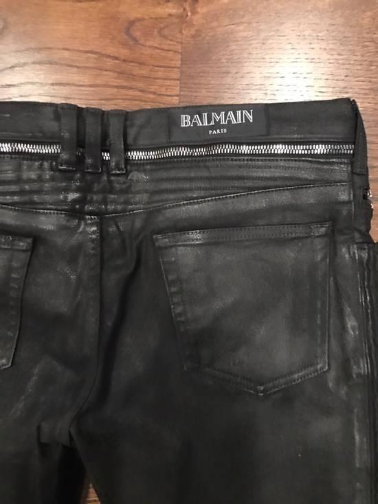 Balmain Balmain Black Waxed Biker Denim Jeans Size US 34 / EU 50 - 2