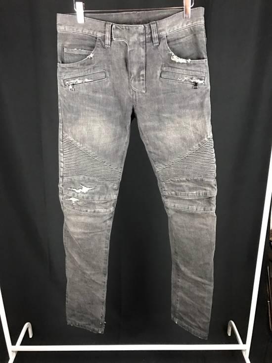 Balmain Distressed Grey Denim Size US 29